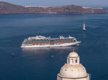 Greek Islands Santorini Cruise Ship Stock Photos