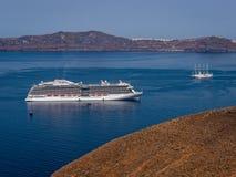 Greek Islands Santorini Cruise Ship Royalty Free Stock Image