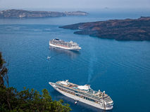 Greek Islands Santorini Cruise Ship Aerial View Royalty Free Stock Images