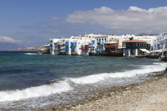 Greek Islands Series - Mykonos. Wide view of an area of Mykonos called Little Venice which has a unique style of architecture and lots of cafes overlooking the Royalty Free Stock Photos