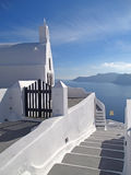 Greek Islands Style White Architecture with Blue Sea and sky at Santorini Island Royalty Free Stock Photos