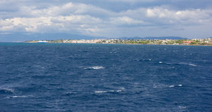 Greek Islands, view from the sea Stock Image