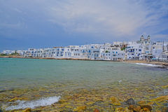 Greek Islands. Whitewash village by the sea on a Greek Island in the Cyclades group Royalty Free Stock Photography