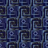 Greek key meander 3d vector seamless pattern. Geometric abstract. Patterned dark blue background wallpaper. Surface texture. Ancient ornaments with squares Stock Image
