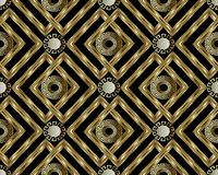 Greek key meander gold 3d seamless pattern. Vector abstract geom. Etric background. Vintage ancient greek ornament with circles, frames, rhombus. Surface texture Stock Photography