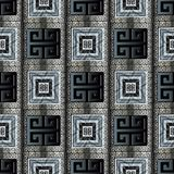 Greek key meander seamless pattern. Ancient greek key seamless pattern. Modern geometric 3d background. Abstract  striped 3d wallpaper. Grunge surface meander Royalty Free Stock Image
