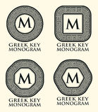 Greek Key Ornament Monogram Set, Vector Royalty Free Stock Photography