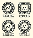 Greek Key Ornament Monogram Set, Vector Stock Image