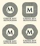 Greek Key Ornament Monogram Set, Vector Royalty Free Stock Photo