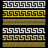 Greek Key patterns (Gold and White) Stock Photo