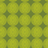 Greek Key Round Circles Green Seamless Background Royalty Free Stock Photo