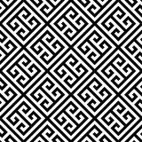 Greek key seamless pattern background in black and white. Vintage and retro abstract ornamental design. Simple flat Royalty Free Stock Images