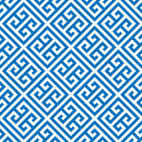 Greek key seamless pattern background in blue and white. Vintage and retro abstract ornamental design. Simple flat. Greek key seamless pattern background in stock illustration