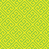 Greek key seamless pattern background in green and yellow. Vintage and retro abstract ornamental design. Simple flat Royalty Free Stock Photos