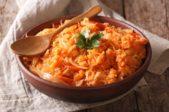 Greek lahanorizo rice with cabbage close up in a bowl. horizonta Royalty Free Stock Photo