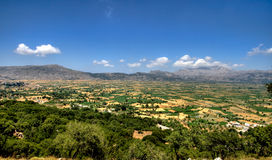 Greek landscape. Fields and mountains in Greek countryside Royalty Free Stock Photo