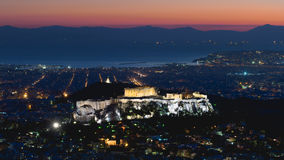 Greek landscape of Acropolis against the sunset. Stock Images