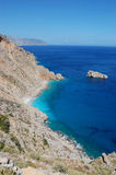 Greek landscape, amorgos island. Typical view of shore in cycladic islands, taken in amorgos stock photo