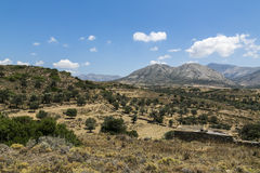 Greek landscape with meadow, mountain and blue sky Royalty Free Stock Photography