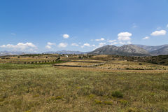 Greek landscape with meadow, mountain and blue sky Stock Images