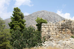 Greek landscape with ruins Royalty Free Stock Image