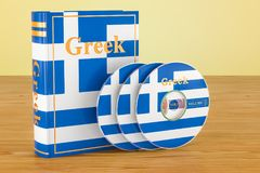 Greek language textbook with flag of Greece and CD discs on the. Wooden table. 3D Royalty Free Stock Images