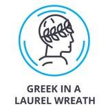 Greek in a laurel wreath thin line icon, sign, symbol, illustation, linear concept, vector stock illustration