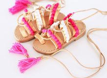 Greek leather sandals for girls Stock Photo