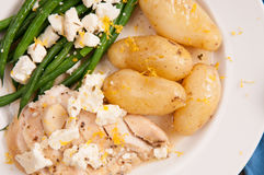 greek lemon chicken with fingerling potatoes Royalty Free Stock Images