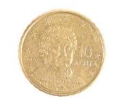 Greek 10 lepta coin. Stock Photos