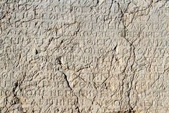 Greek letters. On the stone on the mount Nemrud, Turkey Royalty Free Stock Image
