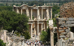 Greek Library ruins at Ephesus Stock Photos