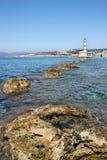 Greek lighthouse. Lighthouse of Chania in Crete island Greece Stock Photos