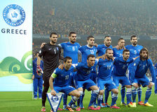Greek lineup before FIFA World Cup Playoff Game Royalty Free Stock Images