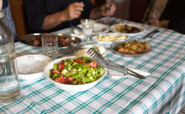 Greek lunch at home. Stock Photo