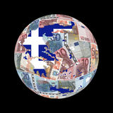 Greek map flag on euros Stock Images