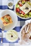 Greek meal with mousaka Stock Photos