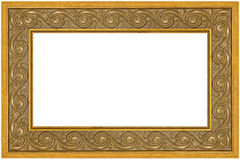 Greek meander golden frame. Horizontal golden frame isolated on white background, clipping path for easier inserting included inside the frame Stock Images