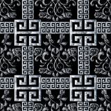 Greek meanders seamless pattern. Floral black white tapestry ros. Es background. Modern 3d wallpaper. Embroidery vector roses flowers, 3d meander, greek key royalty free illustration