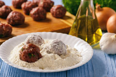 Greek meatballs keftedes -cooking process. Stock Photography