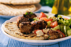 Greek meatballs keftedes with pita bread and tzatziki dip. Stock Photos