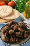 Greek meatballs keftedes with pita bread and tzatziki dip. Royalty Free Stock Images