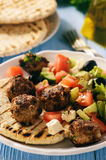 Greek meatballs keftedes with pita bread and tzatziki dip. Stock Photo