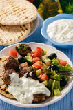 Greek meatballs keftedes with pita bread and tzatziki dip. Stock Images