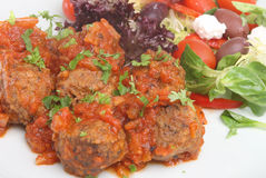 Greek Meatballs in Tomato Sauce Royalty Free Stock Images
