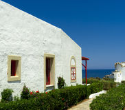 Greek mediterranean bungalow architecture Stock Photography