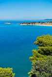 Greek mediterranean coast with beautiful blue tones of Aegean sea in Sithonia Royalty Free Stock Photos
