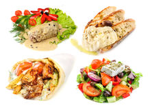 Greek and mediterranean fast street food. Gyros Pita, greek salad and other mediterranean fast street food, isolated on white Stock Photo