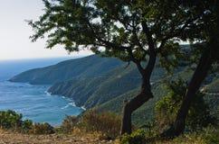 Greek mediterranean sea coast at morning in Macedonia stock photo