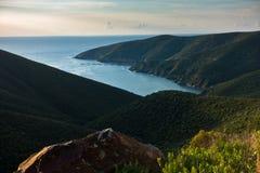 Greek mediterranean sea coast at sunrise in Macedonia Royalty Free Stock Photos
